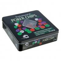 Покер, набор для игры (карты 2 колоды микс, фишки 100 шт), без номинала 20х20 см 288707
