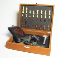 Подарочный набор шахматы фляжка стопки  D 1815