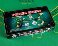 Покер, набор для игры (карты 2 колоды, фишки 300 шт, сукно 60х90см) 637896