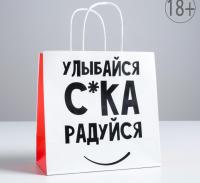 Пакет подарочный «Улыбайся», 22 х 22 х 11 см 5114099