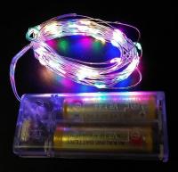 Гирлянда на Батарейках  Цветная 3м