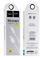 Кабель для iPhone 5.6/iPad HOCO X6  1м силиконовый Black