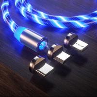 Кабель USB магнитный светящийся W-016 3 в 1