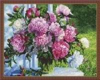 Букет розовых пионов алмазная вышивка 40х50