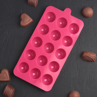Форма для льда и шоколада Доляна «Шарики», 21×10 см, 15 ячеек (d=2,8 см), цвет МИКС