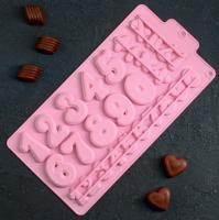 Форма для льда и шоколада Доляна «Цифры», 30,2×16 см, 28 ячеек, цвет МИКС