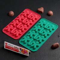 Форма для льда и шоколада «Карамельное чудо», 21×10 см, 12 ячеек (3,5×3,5 см), цвет МИКС