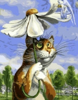 Кот под ромашкой Картина 40х50