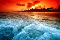 Красный закат на море Картина 40х50