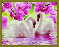 Лебеди в цветах алмазная вышивка 40х50