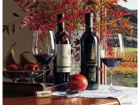 Натюрморт с вином и цветами Картина 40х50