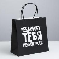 Пакет подарочный «Ненавижу тебя меньше всех», 22 х 22 х 11 см 3907841