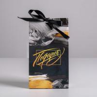 Пакет подарочный с лентой «Подарок», 13 × 23 × 7 см