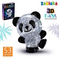 Пазл 3D кристаллический «Панда», 53 детали, световой эффект, работает от батареек, цвета МИКС