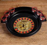 """Пьяная игра """"Алко-Вегас"""", рулетка черная d=30 см, 6 стопок, микс 425962"""
