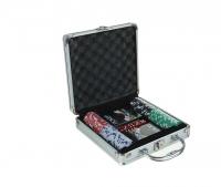 Покер в металл. кейсе (карты 2 колоды, фишки 100 шт без номин., 5 куб.), 20х20 см, микс, 269187