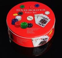 Покер, набор для игры (карты 2 колоды, фишки 240 шт с номин, сукно 60х90 см), микс 427374