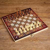 """Настольная игра 3 в 1 """"Узоры"""": нарды, шашки, шахматы, поле 30х30 см, дерево 1267615"""