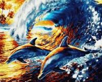 Веселые дельфины Картина 40х50