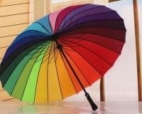 Зонт - трость полуавтоматический «Радуга», 16 спиц, R = 48 см, разноцветный